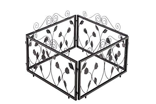 CLP 4er Set Beetzaun CALVIN, Eisen massiv, Breite 4 x 57 cm = 228 cm, Höhe 34 cm, endlos erweiterbar, Beeteinfassung Schwarz