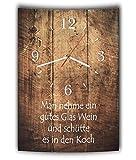 LAUTLOSE Designer Wanduhr mit Spruch Man nehme ein gutes Glas Wein und schütte es in den Koch Holz Holzoptik modern Deko schild Abstrakt Bild 41 x 28cm