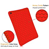 Fintie Silikon Hülle Fire HD 10 Tablet (7th Gen.- 2017 Modell) - Leichte Rutschfeste Stoßfeste Silikon Tasche Case Kinderfreundliche Schutzhülle für 2017 Amazon Fire HD 10 (Rot)