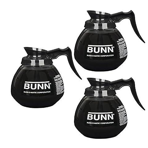 BUNN Glass Regular Coffee Pot Decanter / Carafe, 12 Cup, Set of 3, Black by BUNN (Bunn Decanter)