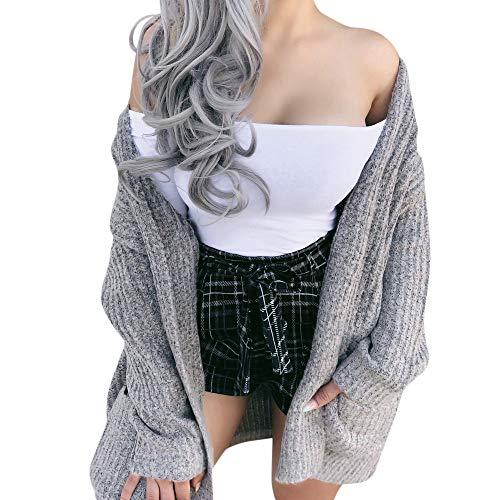 i-uend 2019 Damen Mantel, Plüsch Winter Stepp Warmen Outwear Cardigan Lange Ärmel Einfarbig Parka Strickjacken (Tumblr Halloween Post)