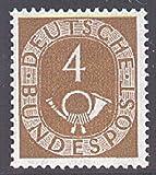 Goldhahn BRD Nr. 124 postfrisch ** geprüft - 4 Pfennig Posthorn Briefmarken für Sammler