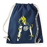 Super Saiyajin Gym Bag Goku Dragon Master Son Ball Vegeta Turtle Roshi Db, Farbe:Dunkelblau/Gelb