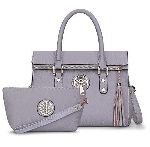 LDMB Damen-handtaschen Frauen PU-lederne beiläufige große Kapazitäts-Schulter-Kurier-Handtaschen-feste Farben-justierbare abnehmbare Quasten-Taschen-Beutel Crossbody Beutel-Telefon-Paket-Handtaschen-2 gray