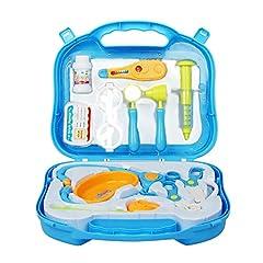 Idea Regalo - Valigetta Dottore Bambini Kit Infermiere Medico Gioco Giochi di Ruolo Giocattolo per Bambino Toddlers Rosa 3 Anni 12 Pezzi
