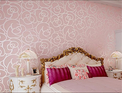 ufengke No Tejido Bronceadores Flocado Romántico Rosa Patrón de Flores 3D Papel Pintado Mural Para...