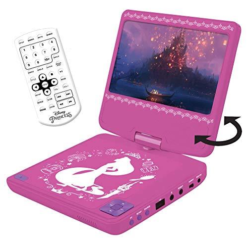 Lexibook DVDP6DP Disney Princess Tragbarer DVD-Player mit Auto-Adapter und Fernbedienung