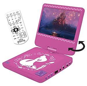 Princesas Disney Disney Princesas - Lector DVD portátil con Puerto USB y mando a distancia, batería recargable (Lexibook DVDP6DP), Color rosa (
