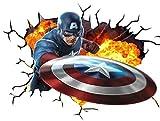 Chicbanners Marvel Avengers Captain America V001Wall Crack Smash Wall Sticker autoadesivi Poster Wall Art Dimensioni 1000mm Larghezza x 600mm di profondità (Grande)