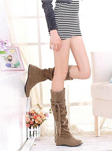 Minetom Donne Autunno E In Inverno Stivali Increspatura Matte Superficie Altezza Crescente Scarpe Cachi