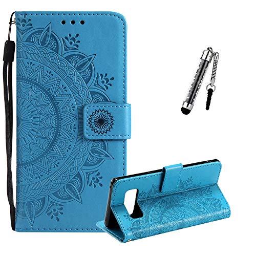 ZCRO Coque pour Samsung Galaxy Note 8, Coque Housse Case Portefeuille Élégant Cover Cuir Porte Carte Magnétique Rabat Flip Case Etui Antichoc et Stylet pour Samsung Galaxy Note 8 (Bleu)