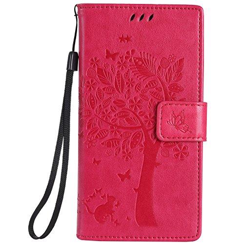Cozy Hut Huawei P8 Lite Hülle, Premium Leder Flip Case im Bookstyle Folio Cover Kartenfächer Magnetverschluss und Standfunktion Leder Schale Etui für Huawei P8 Lite - Rose Red