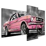 Bilderdepot24 Kunstdruck - Mustang Graphic - rosa - Bild auf Leinwand - 130x80 cm 3 teilig - Leinwandbilder - Bilder als Leinwanddruck - Wandbild