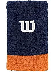 Wilson Extra Wide Wristband NAVY WIL/CLEM - Muñequera unisex, color azul, talla OSFA