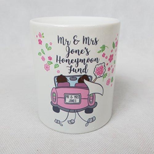 Honeymoon Money Box Personalised name Wedding Present Wedding savings gift Wedding Money jar Honey moon Just married Couple Bride Groom