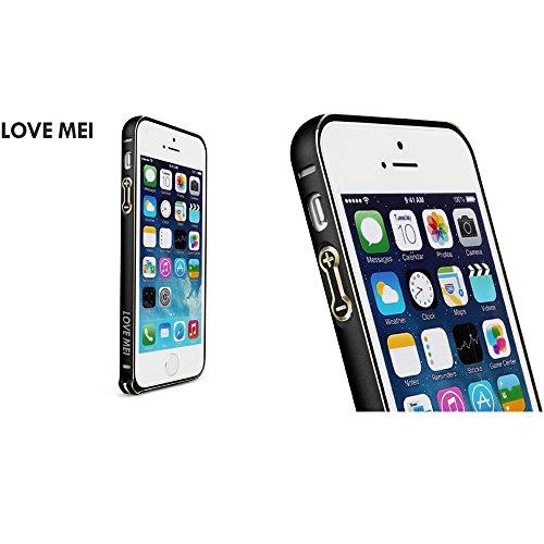 Love Mei Schutzhülle Bumper Rahmen aus Metall Ultra Fine aus Aluminiumlegierung de Luxe für iPhone 5/5S Black+Golden