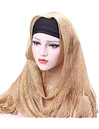 Saoye Fashion Sciarpa da Donna Musulmana Avvolgente con Cappello A Nappa  Grigio Facile da Abbinare Kaki 2689a1df5504
