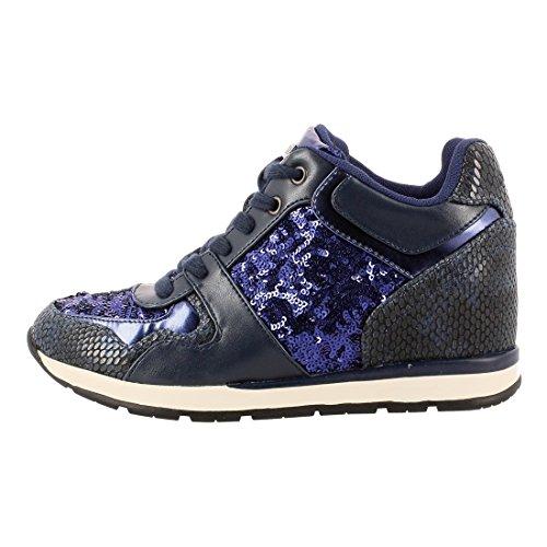 Cm Laceyy Cuneo Donna Immagino Blu 6 Pelle In Scintillio Sneaker Tessuto Aq4W50w