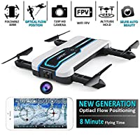 JJRC Drone (New Generation - Optiacl Flow Positioning), Foldable Selfie Drone 720P, Wifi FPV Drone (Excellent Positioning, Altitude Hold, 7-8 Minutes Flying Time, G-Sensor Mode, 360-Degree Rotations, Headless Mode) Toy Drone JJRC H61 by LITEBEE by LITEBEE