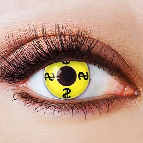 Farbige Kontaktlinsen Gelb Motivlinsen Ohne Stärke mit Motiv Gelbe Linsen Halloween Karneval Fasching Cosplay Kostüm Yellow Million Dollar Baby