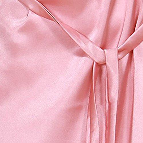 WanYang Femmes Manches courtes Pyjama Chemise De Nuit En Soie Ete Pour Gris rosé pâle