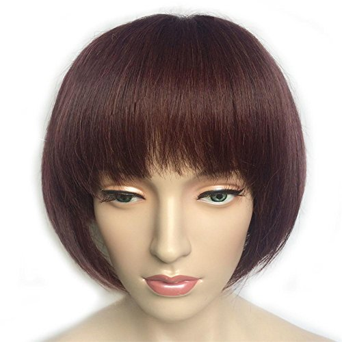 Perücke Mod Mode (Kurz Bob Perücke Leicht Flaumig Gerade Perücken Hoch Temperatur Faser Synthetik Rot Haar Frau)