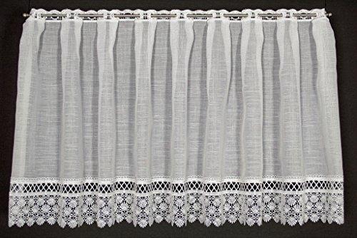 Scheibengardine oben Lochspitze 50 cm hoch   Breite der Gardine durch gekaufte Menge in 20 cm Schritten wählbar   Farbe: Weiß   Vorhang Küche Wohnzimmer Bad