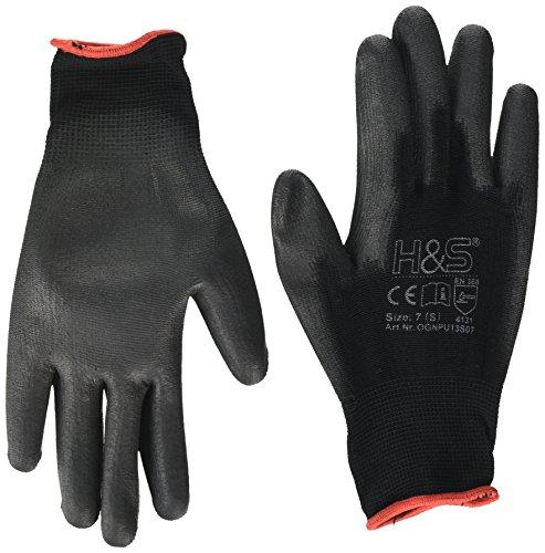 12 Paar Arbeits-Handschuhe von ISC H&S, Nylon, PU-beschichtet | verfügbar in S small (7), M medium (8), L large (9), XL x-large (10), XXL xx.large (11) | nahtlos, vielseitig, schwarz, Größe 7 (S) Damen-montage