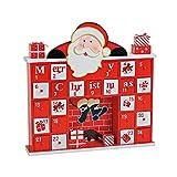 Geschenkbox Holz-Adventskalender Weihnachtsmann im Kamin, rot-weiß, zum Befüllen