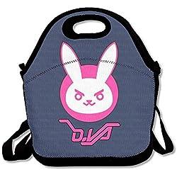 Pzeband Overwatch D.Va Bunny Logo Lunch Bag Tote Handbag