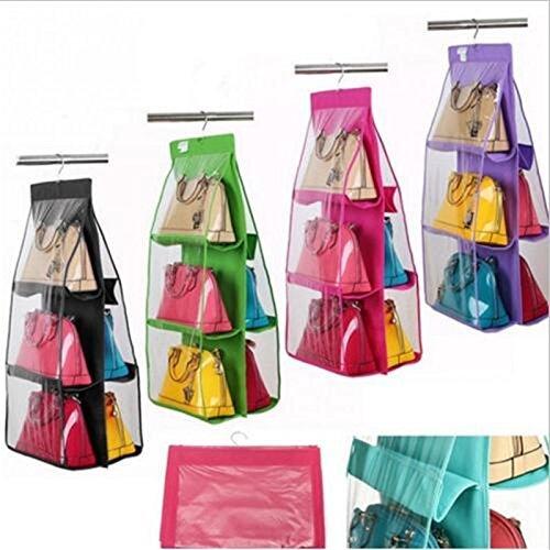 Generic Grün: 6Taschen Vlies Handtasche Tote Geldbörse Lagerung Organizer Staubbeutel Staub zum Aufhängen Closet Racks @ (Abas-geldbörse)