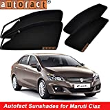 #2: Autofact Magnetic Window Sunshades/Curtains for Maruti Ciaz [Set of 4pc - Front 2pc with Zipper ; Rear 2pc Without Zipper] (Black)