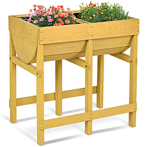 COSTWAY Hochbeet Holz, Blumenbeet, Blumenkasten Garten, Pflanzkasten Gelb, Blumentrog mit 2 Fächern