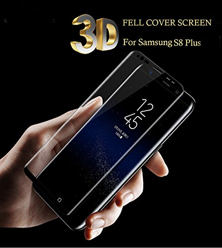 Nkarta (TM) 3D Premium Quality Full Edge To Edge 9H Hardness 2.5D CURVE Tempered Glass Full Screen Protector for Samsung Galaxy S8 Plus – Black
