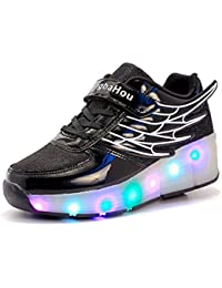 Mr.Ang con luces LED coloridos parpadeante neutra ruedas de patines de rueda patín zapatos Zapatos del patín zapatos deportivos niños y niñas Malla de zapatos calzado transpirable