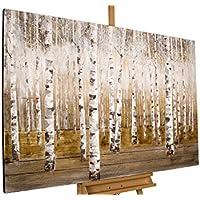 Dipinto in acrilico KunstLoft® 'Rugiada mattutina in un bosco di betulle' in 150x100cm | Tele originali manufatte XXL | Alberi bosco natura | Quadro da parete dipinto in acrilico arte moderna