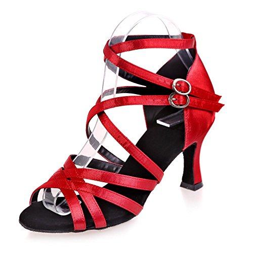 L@YC Scarpe Da Ballo Femminile Da Ballo Latin / Satin / Sandali Da Ballo (Colore) # Red