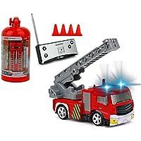 Brigamo Mini RC Feuerwehrauto mit Blaulicht, Ferngesteuertes Auto im Deko Feuerlöscher, ideal für Feuerwehr Fans