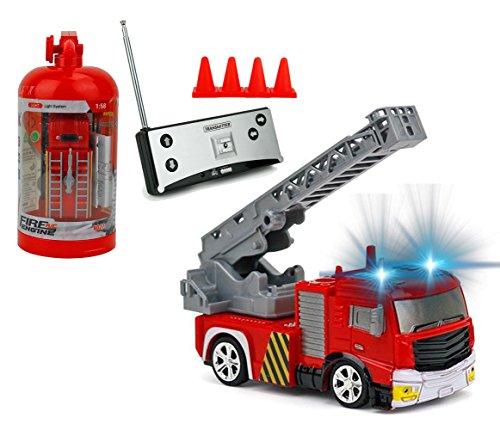 RC Auto kaufen Feuerwehr Bild: Brigamo Mini RC Feuerwehrauto mit Blaulicht, Ferngesteuertes Auto im Deko Feuerlöscher, Feuerwehr Leiterwagen, ideales Geschenk für Feuerwehr Fans (40 Mhz)*
