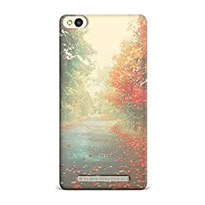 Xiaomi Mi 5 Transparent Printed Design [Scratchproof + Protective] - Nature Autumn Red Maple Leafy Road Case