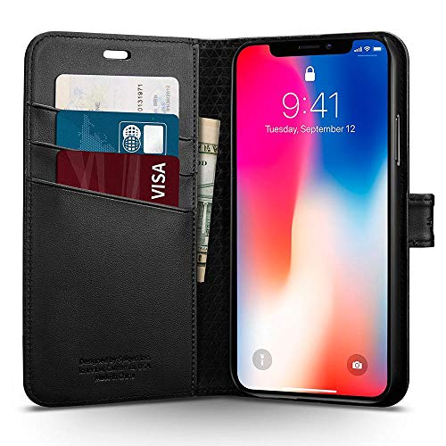 Spigen Cover iPhone X, [Wallet S] Custodia iPhone X con Copertura Pieghevole e funzionalità Kickstand per Apple iPhone X (2017) - Black - 057CS22176
