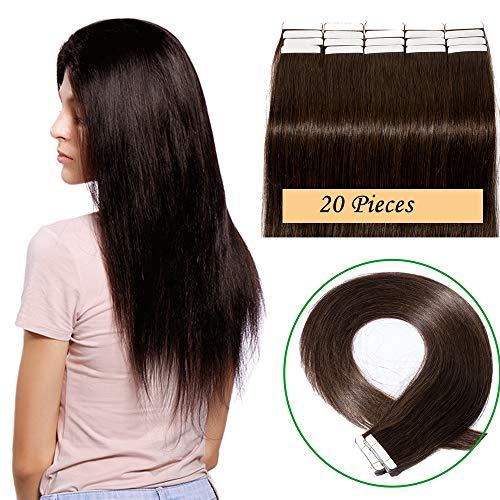 Extension capelli veri adesive naturali lunghi #2 castano scuro 100% remy human hair lisci 30cm 12