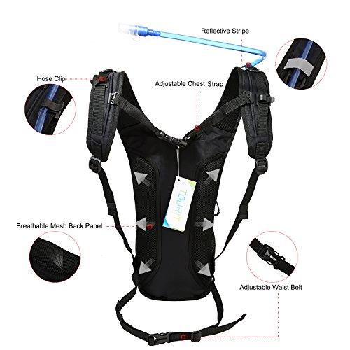 TOURIT Ultra Leichtgewichtige Trinkrucksack mit 2L Trinkblase geeignet zum Camping Laufen, Wandern, Klettern, Fahrradfahren, Schwarz - 4