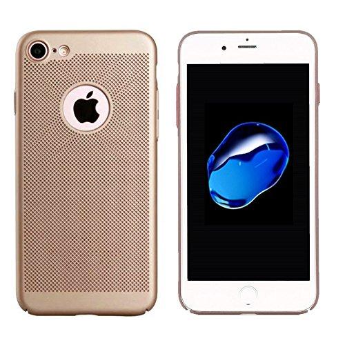 iPhone 7 Ultra Thin Hard Handyhülle Rot, Leichte Premium Thin PC Tasche, Rückseitige Abdeckung gegen Fingerabdrücke, Breathable Air Mesh Hole Hülle, Anti-Scratch, Schutzhülle, BackCover Case Gold