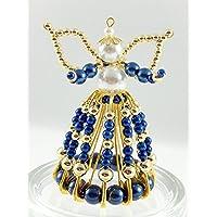 Schutzengel, Perlenengel aus Sicherheitsnadeln blau-gold, Engel, Glücksengel