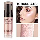 Angmile Liquid Highlighter Shining Glitter 3D Make-up-Effekt Silber Rose Gold Peach Champagne Wasserdichte langlebige Gesichtskosmetik