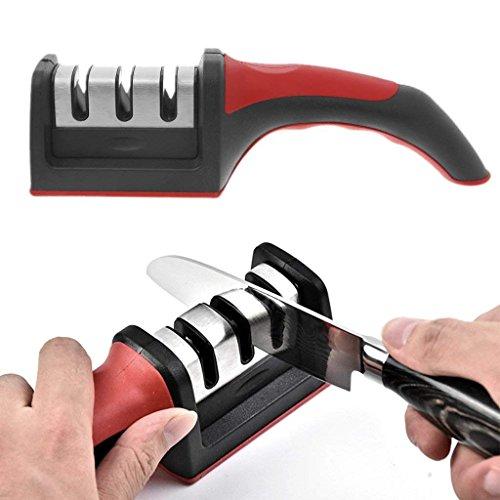 Wdj Messerschleifer,Multifunktionalv Messerschärfer Profi-Küchenmesserschärfer 3-In-1 Manuelles System Für Haushaltsmesser - Rutschfeste Base-Sha 1