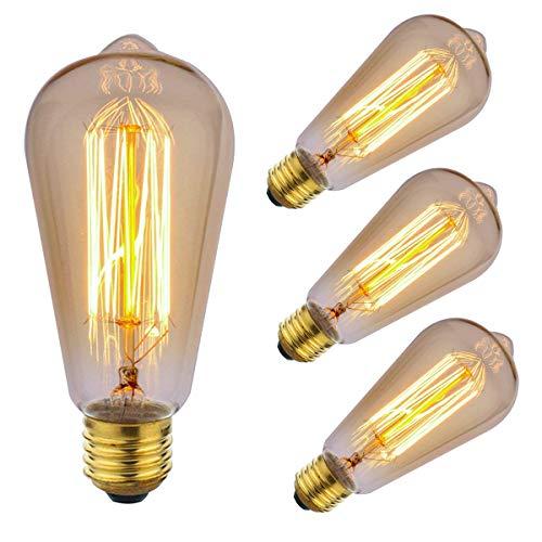 ZOOVQI Edison LED Glühbirne Retro Glühlampe Vintage E27 ST64 60W Dekorative Dimmbar Beleuchtung Birne Für Haus Wohnzimmer Büro Café Bar usw (Led-haus-glühlampen)