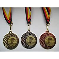 e277 Badminton Pokal Kinder Medaillen 3er Set mit Band&Emblem Pokale Turnier Pokale & Preise