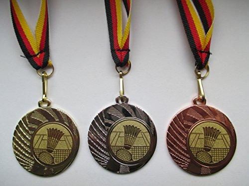 Fanshop Lünen Medaillen Set - aus Stahl 40mm - Badminton - Gold, Silber, Bronze - Federball - Emblem 25mm (Gold) - (e262) -